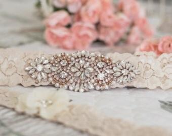 Rose Gold Garter | Ivory Lace  Garter | Vintage Wedding Garter | Heirloom Garters