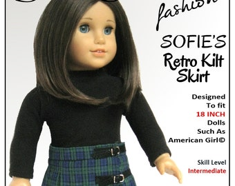 Pixie Faire Sofie Clareese Fashion Sofie's Retro Kilt Skirt Doll Clothes  Pattern for 18 inch American Girl Dolls- PDF