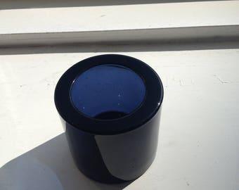 1 IITTALA FINLAND Marimekko KIVI Blue Glass Candle Holder Heikki Orvola Finnish Design maybe blueberry?