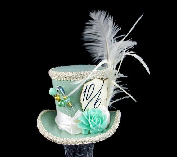 Mint and Cream Resin Flower Medium Mini Top Hat Fascinator, Alice in Wonderland, Mad Hatter Tea Party, Derby Hat