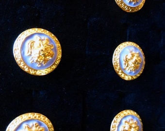 Authentic Vintage 1970s Versace Enamel Lion Buttons Large In Size