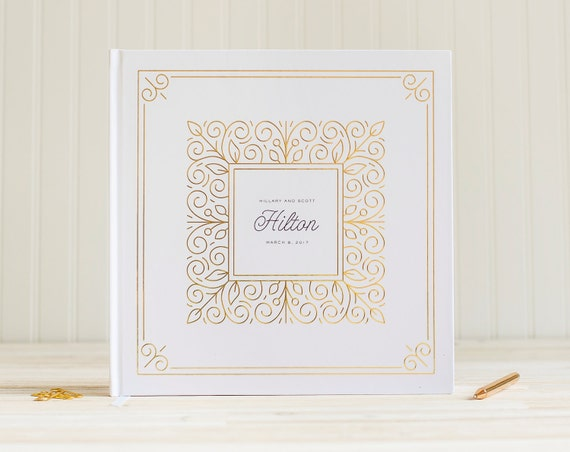 Wedding Guest Book with Real Gold Foil wedding guestbook wedding photo album instant photo book wedding sign in book hardcover guest book