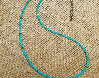 Bohemian Beaded Choker, Dainty Turquoise and Gold Necklace,  Delicate Seed Bead Necklace with Rustic Brass Closure