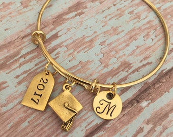 Graduation Bracelet // 2016 Graduation Gift // 2017 // monogramed initial // graduation gift //  Available in Silver, Gold, and Antique Gold