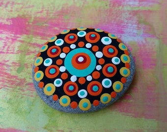 PAINTED BEACH STONE #23 / Pebble Art / Dot Painted Stone / Home Decor /  Paperweight / Decorative Rock