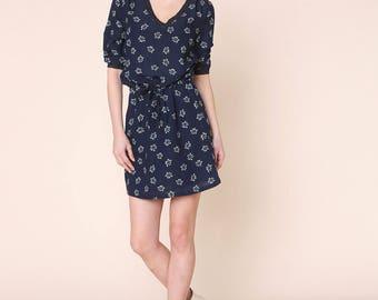 Navy Blue Viscose Sophie Dress.