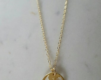 14k gold world charm necklace