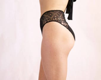 High Waist Bikini. Black Bathing Suit Bottom. Embossed Sheer Side Panels. Swimsuit. Boho Swimwear. Festival Fashion. Bohemian Swim