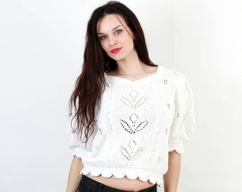 White Knit Top / Crotchet Blouse / Romantic Blouse / Boho Blouse / Short Sleeve Blouse / Granny Blouse Size M