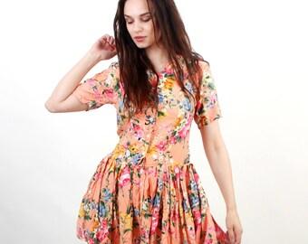 Peach Dress / Floral Dress / Summer Dress / Day Dress / Sun Dress / Mini Dress / Romantic Dress / Medium