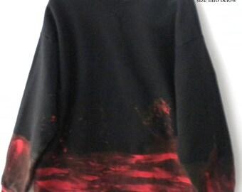 Black Sweatshirt, Black crewneck sweatshirt,Red Sweatshirt, XLarge sweatshirt, Hand-painted Sweatshirt, Graphic Sweatshirt, Grunge, sweater