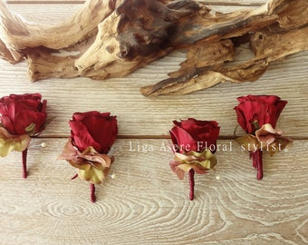 Burgundy wine red rose boutonniere hydrangea groom  groomsmen  wedding party  simple buttonhole groom accessories lapel pin