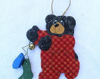 Black Bear Ornament 15RMB- Christmas Ornaments - Bear Decorations - Whimsical Animal Art - Decorative Painting - Tree Decor - Wood Ornaments