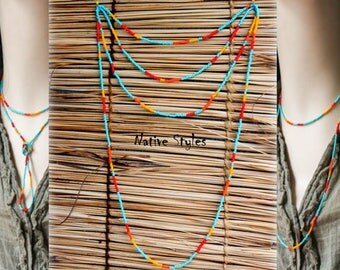 """41""""Long Native American Style Necklace~Bohemian Chic~Native Bright Beads~Long Dainty Layered~Orange Red Turquoise Seed Beaded No Clasp Bead"""