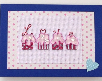 Cupcakes 'Love' cross stitch original handmade card with sequin detail