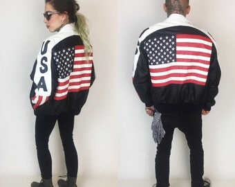 90's Leather American Flag USA Bomber Jacket Large - Stars & Stripes United States Flag Back Patch Americana Outerwear - USA Coat Medium