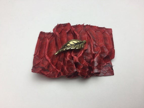 Handmade Blood Red Scaled Reptile Snake Skin French Clip Hair Accessory - Red Goth French Clip Scales Hair Barrette Hair Clip Faux Leather