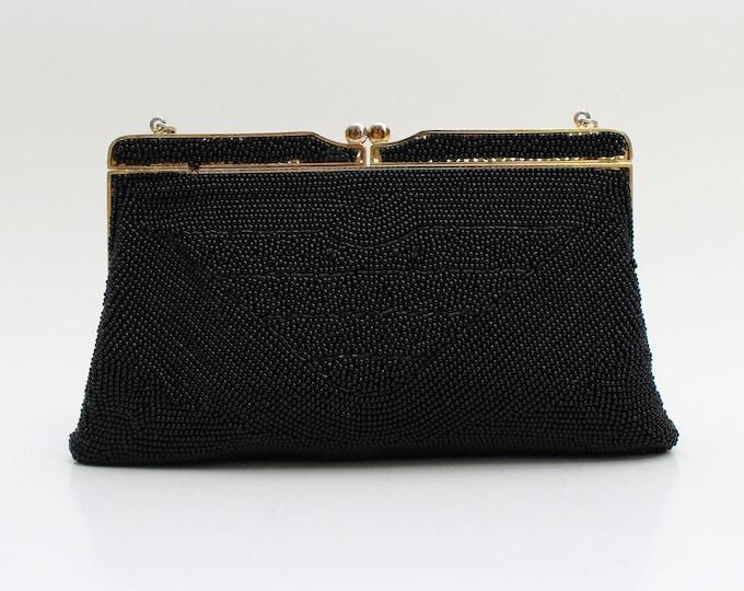 Black Beaded Evening Handbag - Vintage 1950s Evening Bag