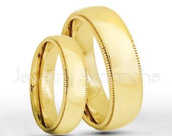 Titanium Rings, 5mm & 7mm Titanium Wedding Band Set, Yellow Gold Plated Milgrain Edge Comfort Fit Bride and Groom Wedding Rings TM476-478