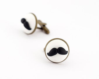 Moustache cufflinks - men cufflinks - woman cufflinks - hipster mustache - gift for dad ideas - father's day gift - wedding cufflinks