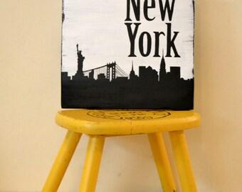 New York City Decor - City Skyline Art - Silhouette Art - Gallery Wall - Travel Decor - Black and White Art - Travel Gift - Office Decor