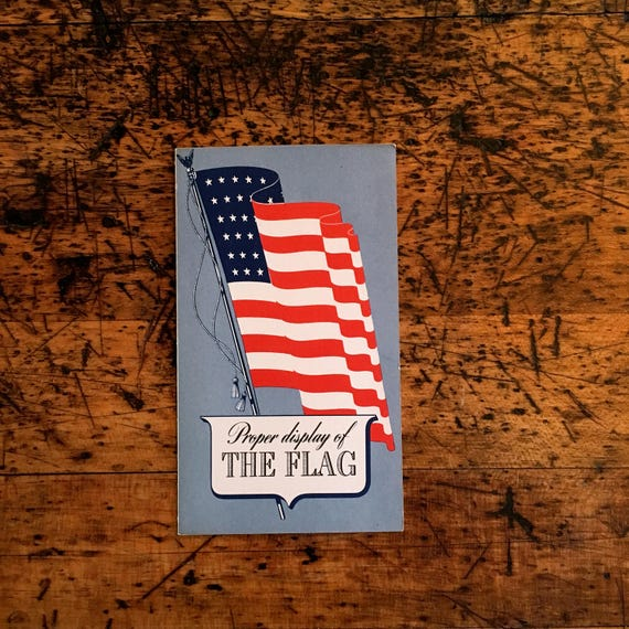Vintage Proper Display Of The Flag Paper Fold Out Pamphlet, 1940s American Flag Ephemera, 48 Star Flag, Americana Decor