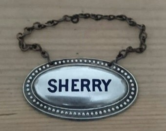 Vintage sherry decanter label