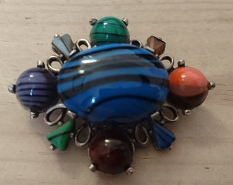 Large vintage miracle signed brooch