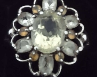 Vintage sterling silver peridot and citrine ring