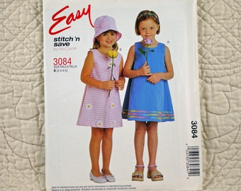 Girls, Summer Dress, T XS S, McCalls 3084 Pattern, Pullover, Sleeveless, A-Line, Scoop Neck, Back Loop Button, 2001 Uncut, Size 2 3 4 5