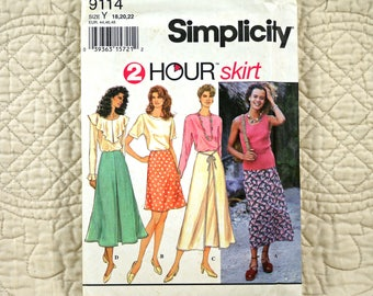 Skirts, L XL, Simplicity 9114 Pattern, Flared, Waistline Facing, Front Back Darts Zipper, Inverted Pleat, Ties, 1994 Uncut, Size 18 20 22