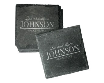 SHIPS FAST, Engraved Slate Coasters, Personalized Wedding Coasters, Newlywed Coasters, Engagement Coasters, His and Her Coasters - CSL03