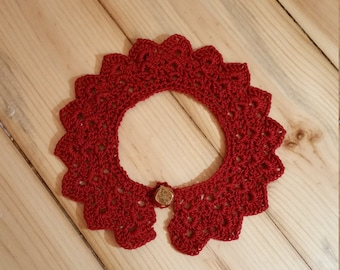 Peter Pan Lace Crochet Collar Necklace 12.5 inches