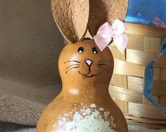 Easter Bunny Gourd, Spring Rabbit, Bow With Pearl Bead