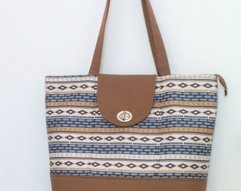 Tote / Tote Bag / Zippered Tote Bag / Shoulder Bag / Handbag / Purse / Everyday Bag /Diaper Bag / Brown and Navy Tribal Print
