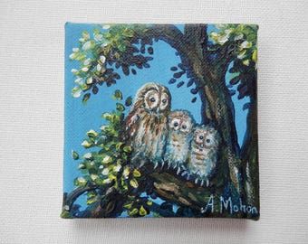 "Original painting: ""Tawny owl family"" owl and two young owls sitting in a tree, mini canvas"
