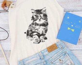 Glasses cat shirt galaxy shirt graphic top funny shirt animal shirt teen shirt women gifts shirt cute gifts graphic tee tumblr gift for her