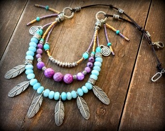 aquamarine necklace, leather hippie necklace, feather necklace, three layered crystal necklace, leather boho necklace, unusual necklace