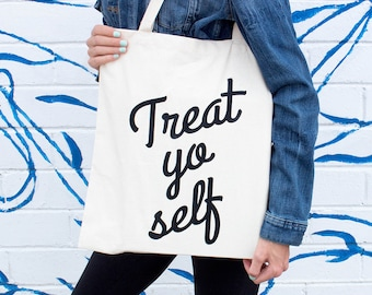 Bridesmaid Tote Bags, Treat Yo Self Tote Bag, Funny Tote Bag, Wedding Party Gift, Brunch, Bridal Shower, For Her, Market Bag, Grocery Bags