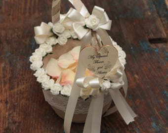 Vintage Flower Girl Basket - Personalised - Ivory - (All Colours Available) - Hessian Flower Girl Basket - Wedding Flower Girl Accesories