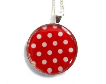 RED NECKLACE - Red and White - Polka Dot Necklace - Summer Jewelry - Retro Necklace - Polka Dot Pendant