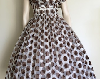 Lovely 50s 60s Brown Polka Dot Chiffon Party Dress / Full Skirt / Small  / Rockabilly / Cape Collar