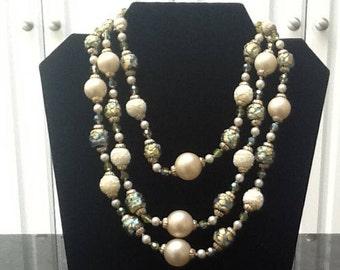 Vintage Vendome Triple Strand Crystal Beaded Necklace