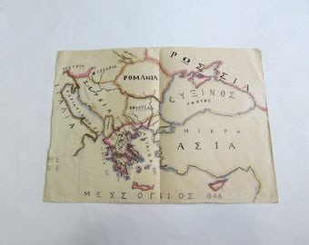 30's hand painted map of Greece signed