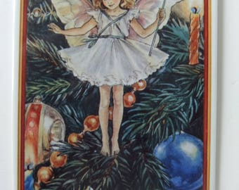 Ceramic Postcard Christmas Fairy by Villeroy & Boch from Art Nouveau Illustration by Cicely Mary Barker made in West Germany