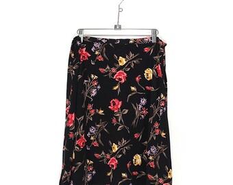 Vintage 90s Flower Mini Skirt -  90s High Waisted Soft Grunge Floral Mini Skirt - 90s Minimaist Normcore Floral Short Flirty Skirt Size Lrg