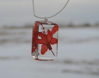 Red Flower Resin Necklace