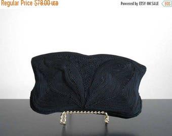 30% SALE - 40s vintage bag - Corde clutch black gimpe black clutch - 40s Night Away bag