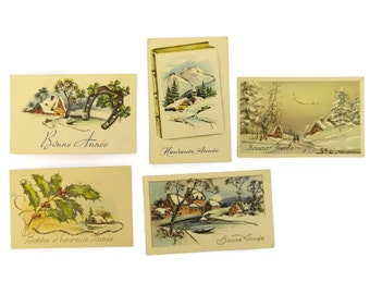 1950s Christmas Tags. Set of 5 Vintage French Christmas Cards. Mid Century Christmas Art Cards.