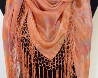silk shawl or scarf with fringe, one of a kind art to wear, hand-dyed, versatile, bright coppery oranges, gold, and green